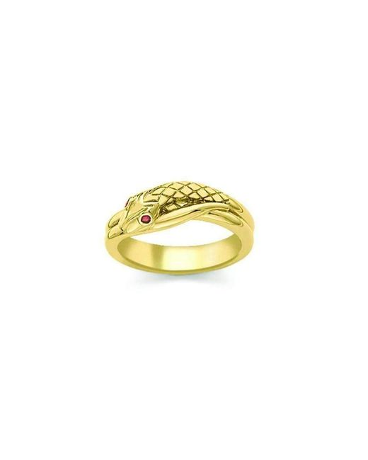 London Road Jewellery - Multicolor Kew Serpent Yellow Gold Ruby Ring - Lyst