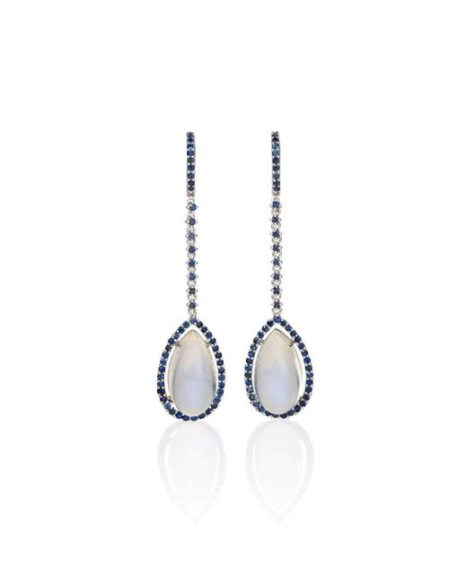 Mara Hotung   Metallic Moonstone & Sapphire Earrings 18kt White Gold   Lyst