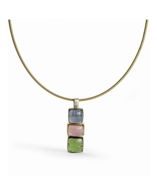 Julia Lloyd George - Metallic Blue, Pink And Green Tourmaline Pendant - Lyst