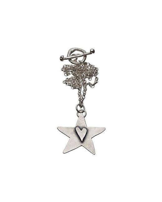 Kate Chell Jewellery - Metallic Black Heart Hammered Star Pendant - Lyst