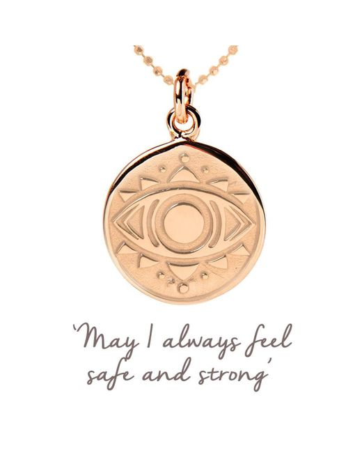 Lyst - Mantra Jewellery Rose Gold Plated Evil Eye Disc Necklace