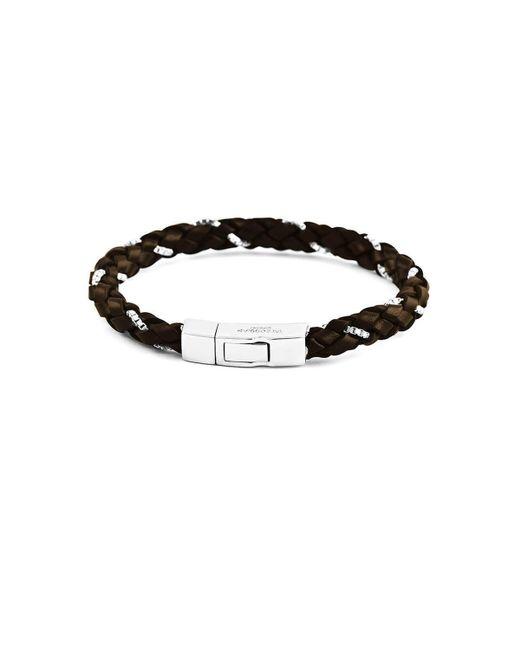 Tateossian - Silver & Brown Leather Scoubidou Weave Bracelet | - Lyst