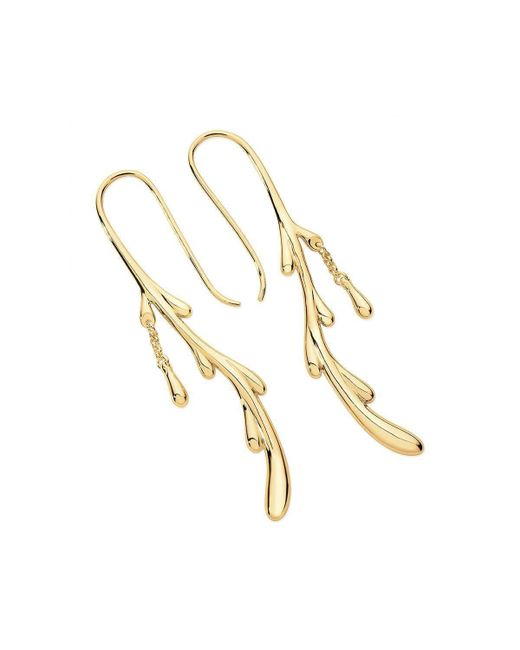 Lucy Quartermaine - Multicolor Dropping Shepherds Crook Earrings Gold Plated - Lyst