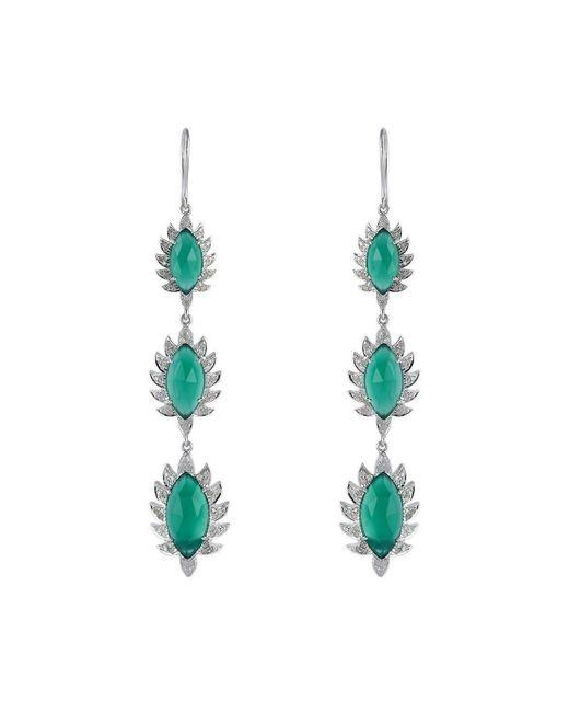 Meghna Jewels   Triple Drop Earrings With Green Onyx   Lyst