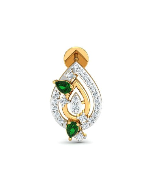 Diamoire Jewels 18kt Yellow Gold 0.29ct Pave Diamond Infinity Earrings With Emerald 9FrnII
