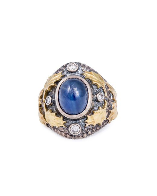 Katherine LeGrand Custom Goldsmith - Blue Sterling Silver & Sapphire Oak Cast Cabochon Ring | Katherine Legrand - Lyst