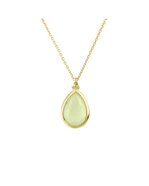 Latelita London Pisa Mini Teardrop Necklace Gold Aqua Chalcedony rm85Y