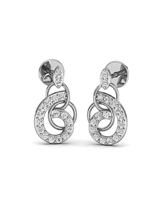 Diamoire Jewels Diamonds and 14kt White Gold Nature Inspired Luxe Pave Earrings NapKsVkEZj