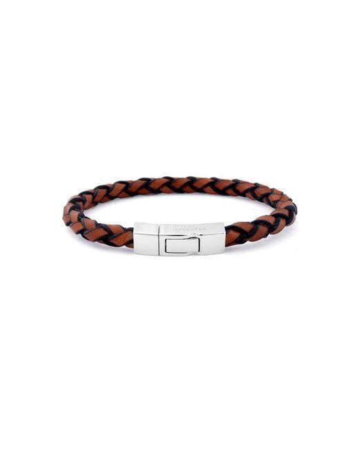 Tateossian - Brown Silver & Tan Leather Wrap Click Scoubidou Bracelet | - Lyst