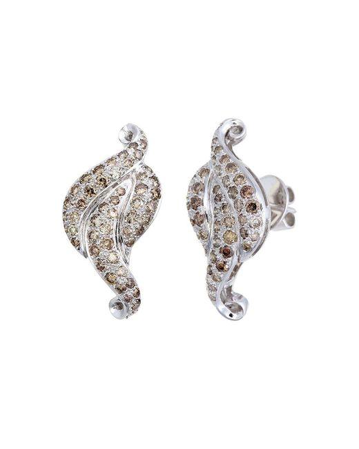 Aara Designer Jewelry | Metallic Royal Leaf Champagne Diamond Stud Earrings | Lyst