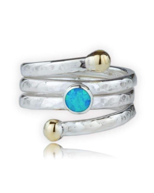 Lavan   Metallic Handmade Hammered Gold And Silver Coil Ring Set With Blue Opal   Lyst