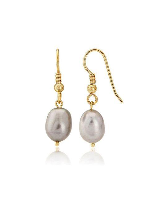 Lavan - Metallic 9kt Gold Large Grey Pearl Drop Earrings - Lyst