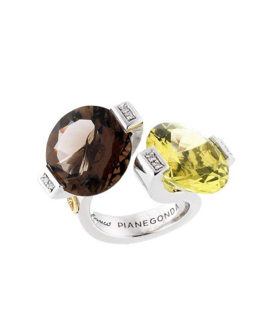 Franco Piane Designed By Franco Pianegonda - Metallic Glitter Drops Ring - Lyst