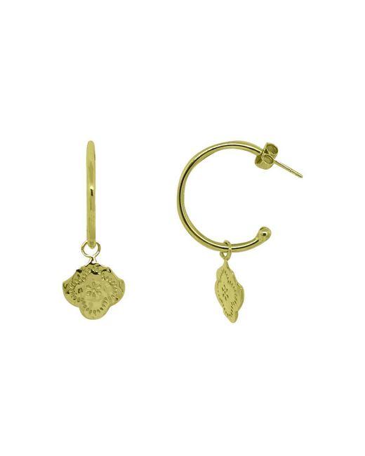 Murkani Jewellery - Metallic Gold Flower Medium Hoop Earrings | - Lyst