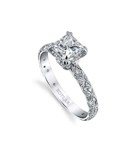 Harry Kotlar - Metallic Princess Cut Criss Cross Artisan Pave Ring - Lyst