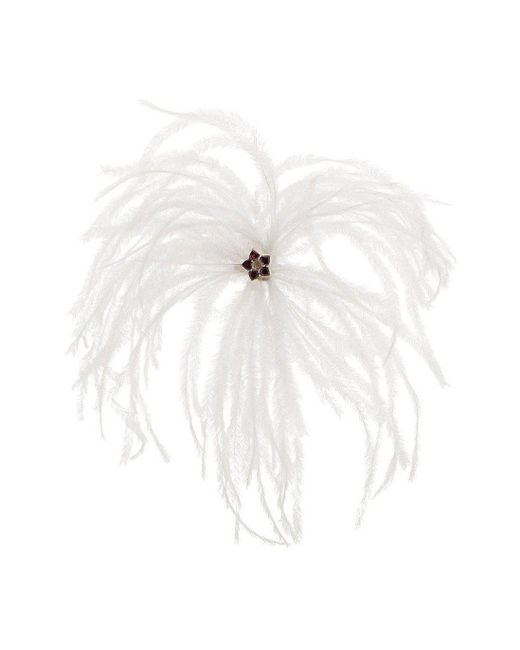 Augustine Jewels - Red Brooch Of Ostrich Feather And Garnet Hearts - Lyst