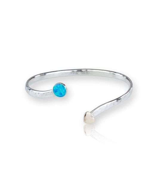 Lavan - Metallic Gold And Silver Opal Heart Bangle - Lyst