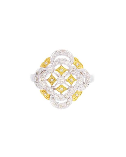 Alexis Danielle Jewelry - Metallic Designer 14kt White And Yellow Gold Diamonds Ring - Lyst