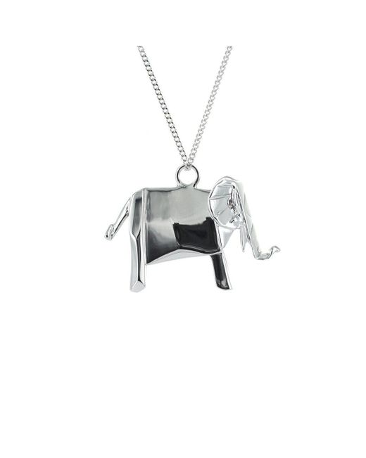 Origami Jewellery - Metallic Elephant Silver Necklace - Lyst