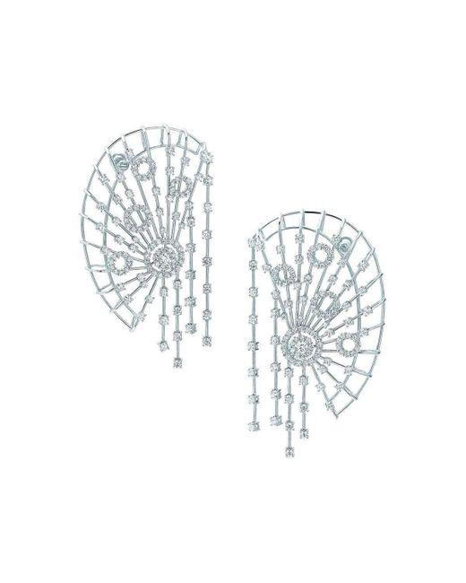 Pinomanna - Metallic White Gold & Diamond East Collection Ear Cuffs | - Lyst