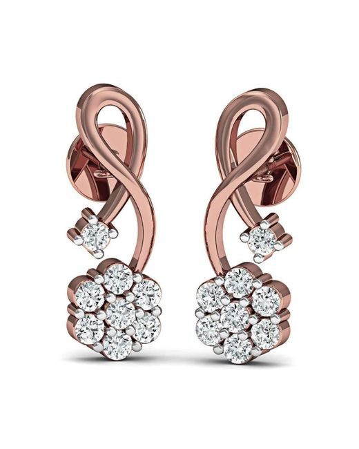 Diamoire Jewels - Metallic Hand-carved 10kt Rose Gold Nature Inspired Diamond Prong Earrings - Lyst