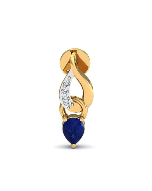Diamoire Jewels | Prong Set Blue Sapphire And Diamond Earrings In 14kt Yellow Gold | Lyst