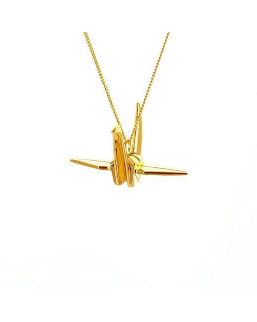 Origami Jewellery - Metallic Bird Gold Necklace - Lyst