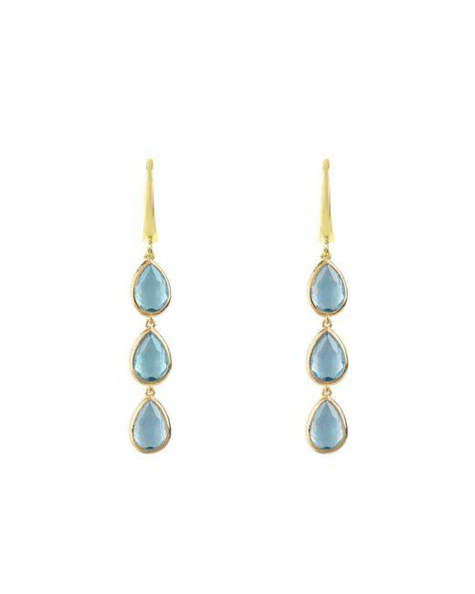 Latelita London Sorrento Triple Drop Earrings Gold Aqua Chalcedony 0URwRXN