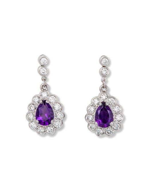 Katherine LeGrand Custom Goldsmith - Purple White Gold, Diamond & Amethyst Edwardian Style Drop Earring | Katherine Legrand - Lyst
