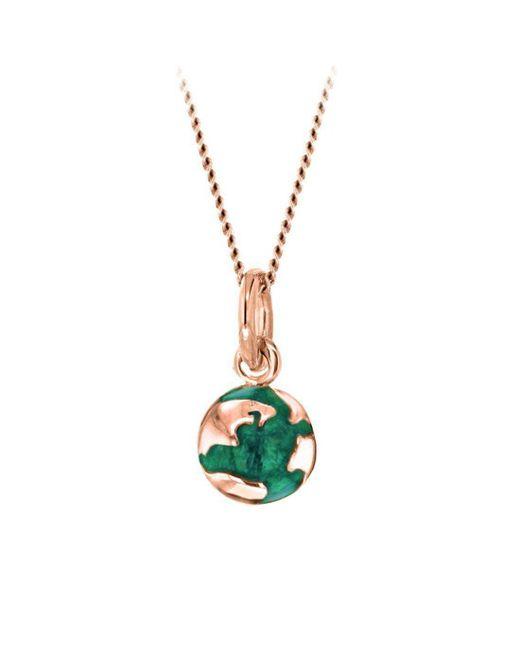 True Rocks - Mini Gold Plated Silver & Green Enamel Revolving Globe Pendant - Lyst