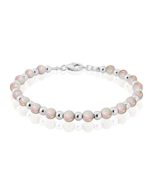 Lavan - Metallic Silver Opal Bead Bracelet - Lyst