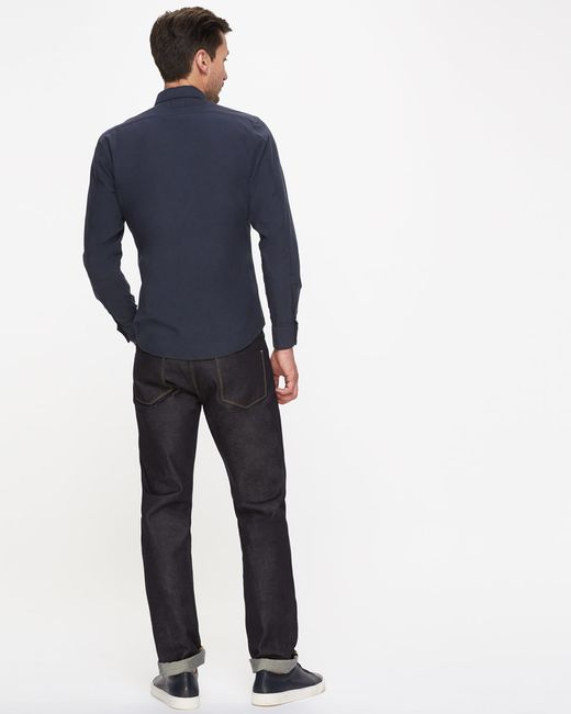 Jigsaw Garment Dye Bound Edge Oxford Shirt In Blue For Men