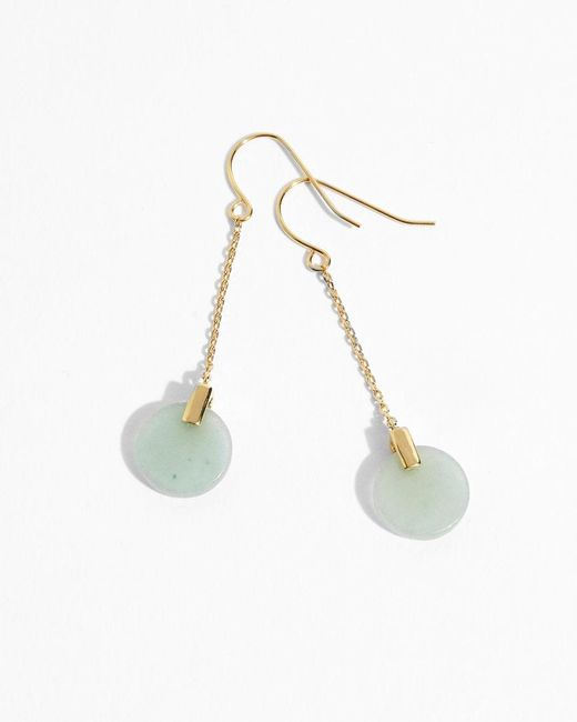 Jigsaw - Metallic Jade Stone Cylinder Earrings - Lyst