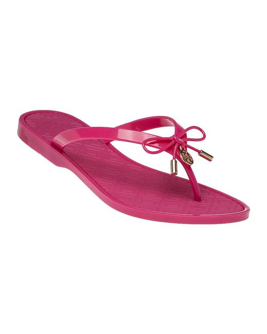 Tory Burch | Pink Jelly Bow Thong Sandals | Lyst