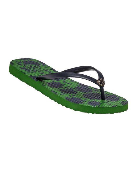 Tory Burch | Green Thin Rubber Flip-Flops | Lyst