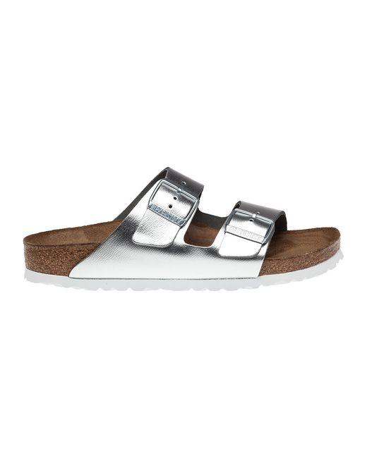 birkenstock arizona silver leather sandals in silver lyst. Black Bedroom Furniture Sets. Home Design Ideas