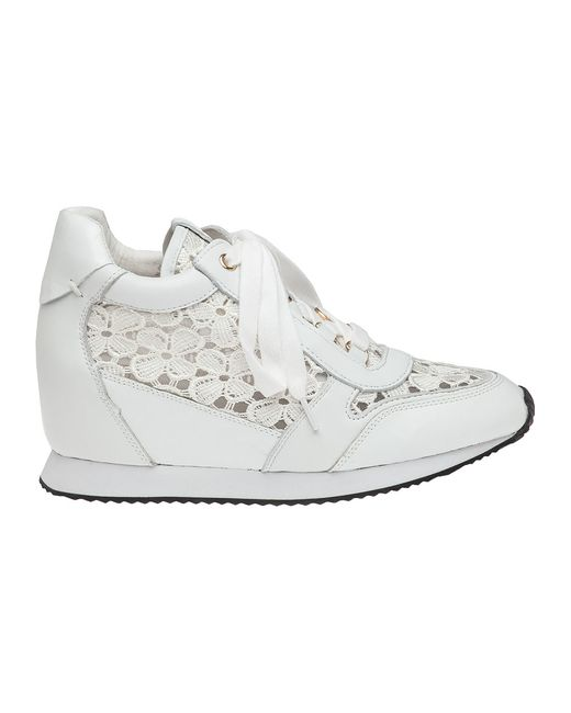 ash lace white sneaker wedge in white lyst