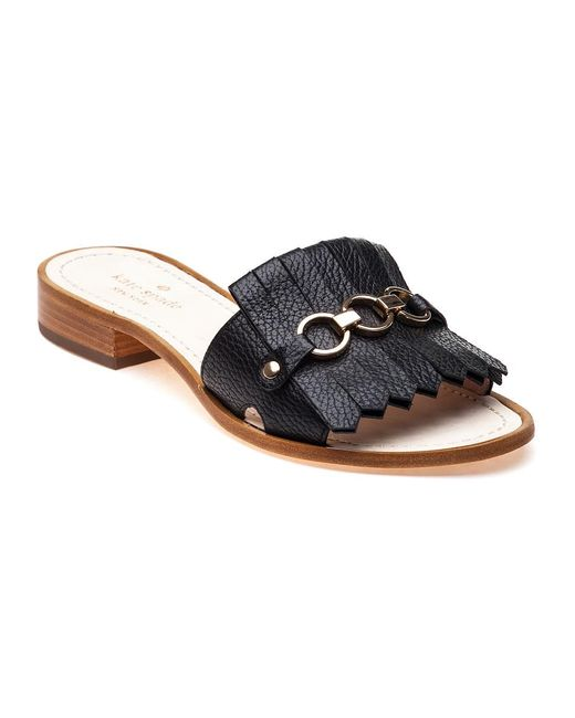 Kate Spade | Brie Black Tumbled Leather Kiltie Slide Sandal | Lyst