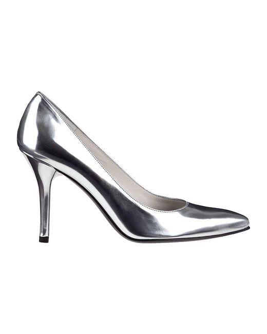 6a5987f829f Stuart Weitzman Power Pump Silver Leather in Metallic - Save 50% - Lyst