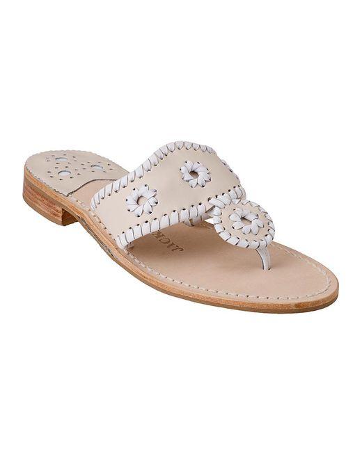 Jack Rogers - Palm Beach Thong Sandal White/bone Leather - Lyst