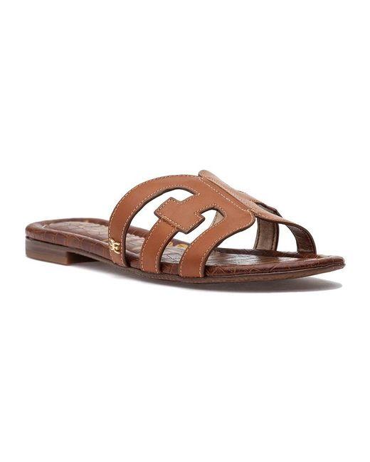 869ee7b3ad34 Lyst - Sam Edelman  bay  Leather Slide Sandals in Brown - Save 28%