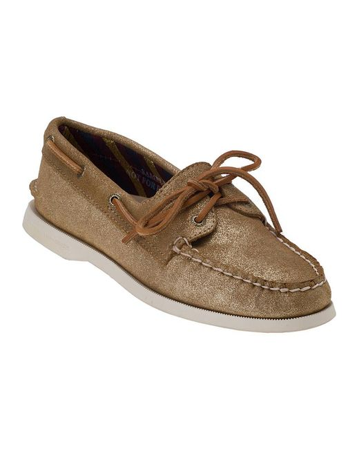 Sperry Top-Sider | Natural Authentic Original 2 Eye Sand Metallic Suede | Lyst
