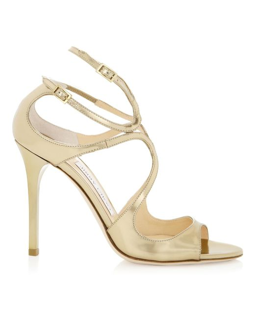Jimmy Choo - Metallic Lang Gold Mirror Leather Sandals - Lyst