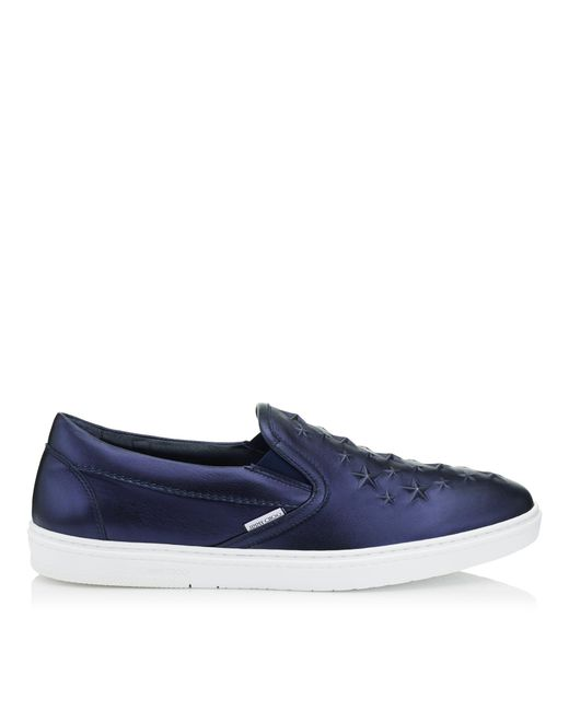 Jimmy Choo - Blue Grove Navy Metallic Nappa Leather Slip On Trainers With Embossed Stars for Men - Lyst