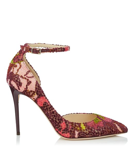 86e281e7345d Jimmy choo Lucy 100 Multi Floral Lamé Fabric Pointy Toe .