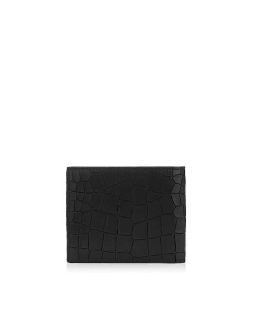 Jimmy Choo | Mark Black Leather Crocodile Embossed Wallet for Men | Lyst