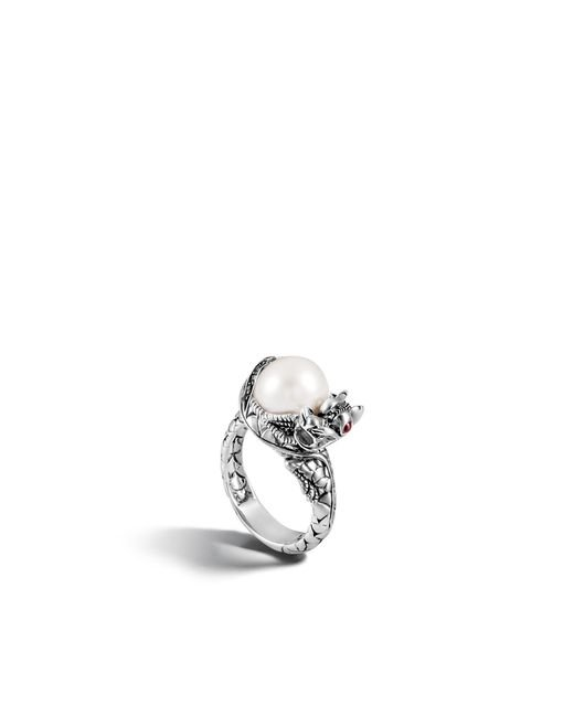 John Hardy | White Naga Center Stone Ring With Pearl And Gemstone | Lyst
