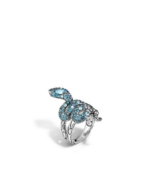 John Hardy | Metallic Cobra Ring With London Blue Topaz And Diamonds | Lyst