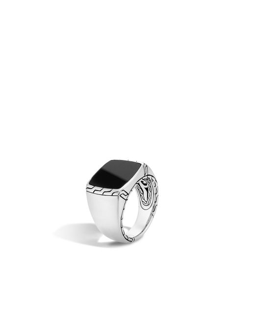 John Hardy | Metallic Classic Chain Signet Ring With Black Jade | Lyst
