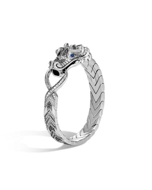 John Hardy - Gray Naga Station Bracelet, Black Sapphire And Spinel, Grey Dia for Men - Lyst